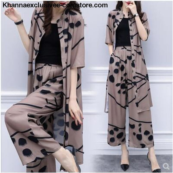 Womens fashion 2 Piece Set Elegant Chiffon Long Cardigan Print Blouse And Wide Leg Pant Sets - Womens fashion 2 Piece Set Long Cardigan