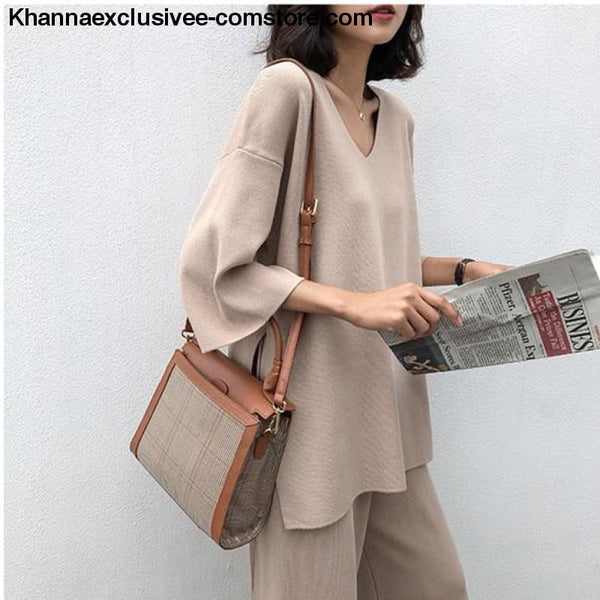Womens Knitted Sweater Pantsuit Two Piece Set V-neck Long Sleeve Pullover Top Wide Leg Pants Suit - Beige / One Size - Knitted Sweater