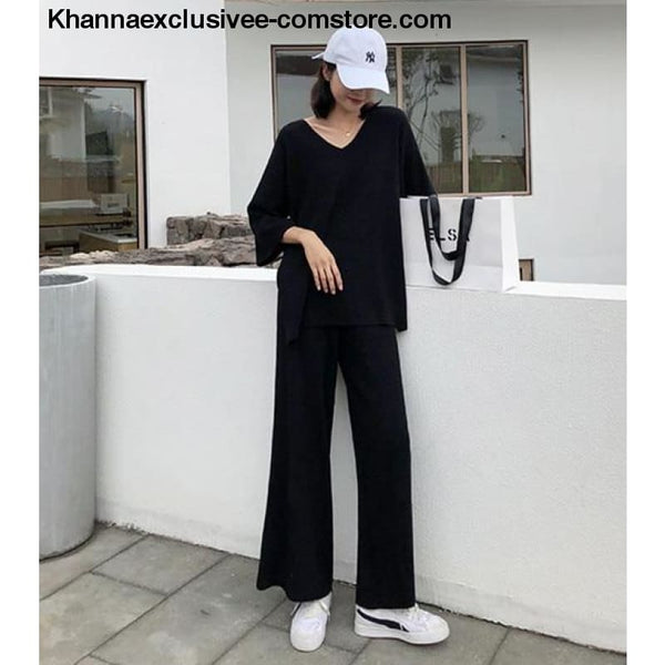 Womens Knitted Sweater Pantsuit Two Piece Set V-neck Long Sleeve Pullover Top Wide Leg Pants Suit - Black / One Size - Knitted Sweater