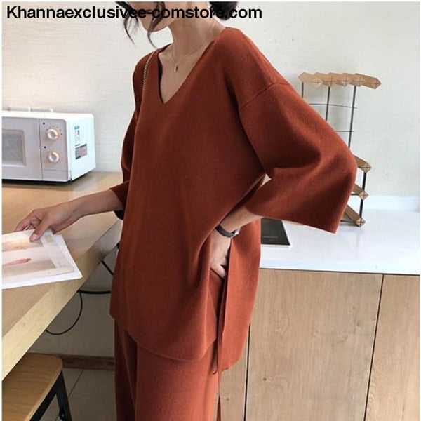 Womens Knitted Sweater Pantsuit Two Piece Set V-neck Long Sleeve Pullover Top Wide Leg Pants Suit - Coral Red / One Size - Knitted Sweater