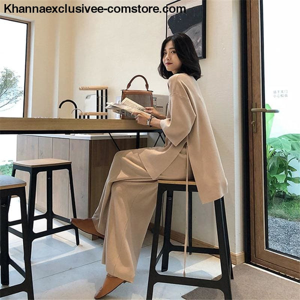 Womens Knitted Sweater Pantsuit Two Piece Set V-neck Long Sleeve Pullover Top Wide Leg Pants Suit - Knitted Sweater Pantsuit For Women Two