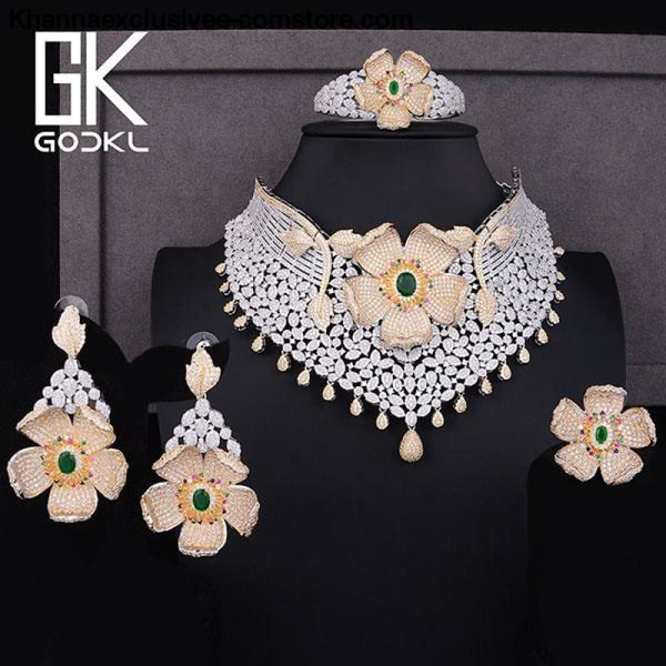 Womens Luxury Cubic Zircon Nigerian Indian Jewelry wedding Set Necklace Earrings Bangle Ring Set - Bicolor Green / Resizable - Womens Luxury