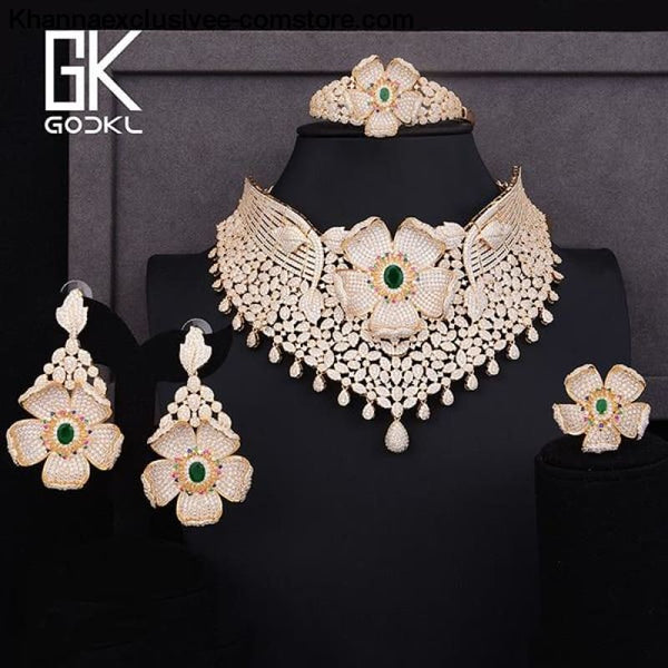 Womens Luxury Cubic Zircon Nigerian Indian Jewelry wedding Set Necklace Earrings Bangle Ring Set - Gold Green / Resizable - Womens Luxury