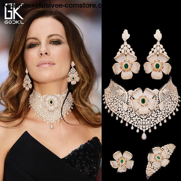 Womens Luxury Cubic Zircon Nigerian Indian Jewelry wedding Set Necklace Earrings Bangle Ring Set - Womens Luxury Cubic Zircon Nigerian