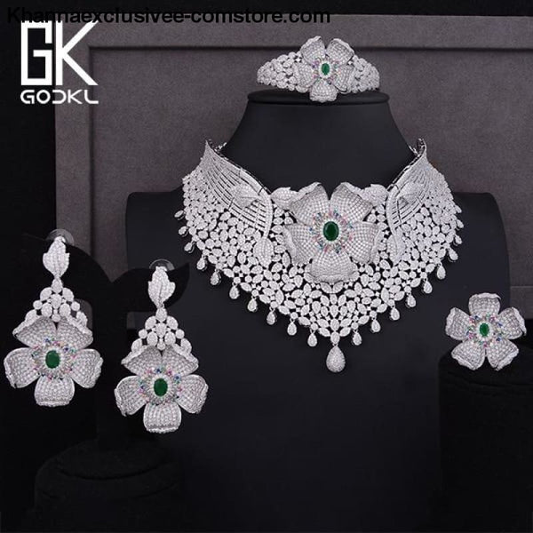 Womens Luxury Cubic Zircon Nigerian Indian Jewelry wedding Set Necklace Earrings Bangle Ring Set - Silver Green / Resizable - Womens Luxury