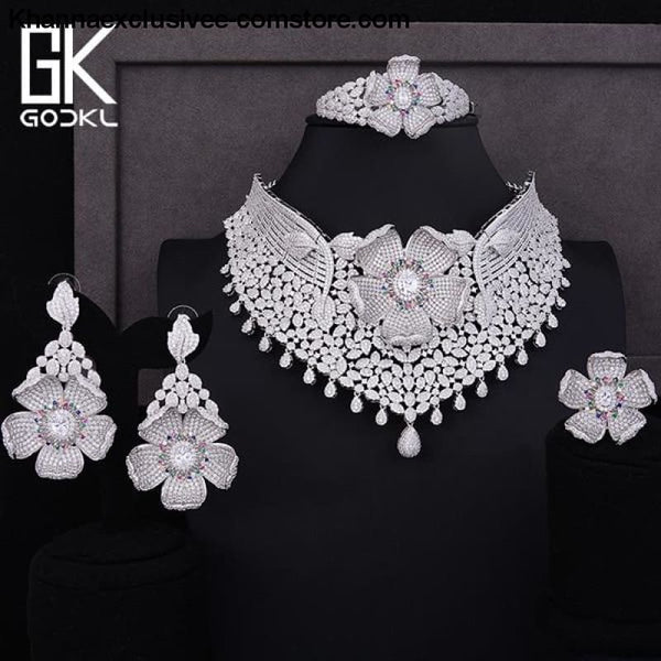 Womens Luxury Cubic Zircon Nigerian Indian Jewelry wedding Set Necklace Earrings Bangle Ring Set - Silver / Resizable - Womens Luxury Cubic