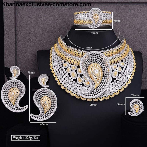 Womens Luxury Water Drop 4pcs African Cubic Zircon CZ Nigerian Jewelry set 18k Gold PlatedBridal Jewelry Set - Luxury Water Drop 4pcs