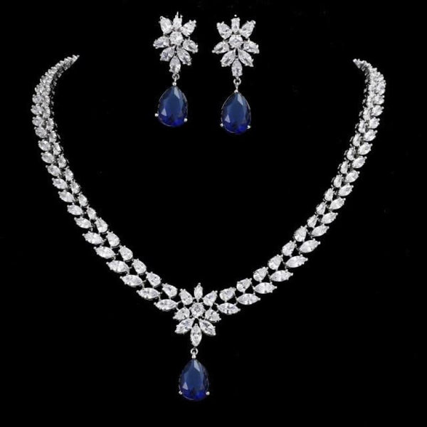 Womens Romantic Trendy Flower Design Water Drop CZ Party Silver-color Jewelry set - blue / 45cm - Womens Romantic Trendy Wedding Jewelry Set
