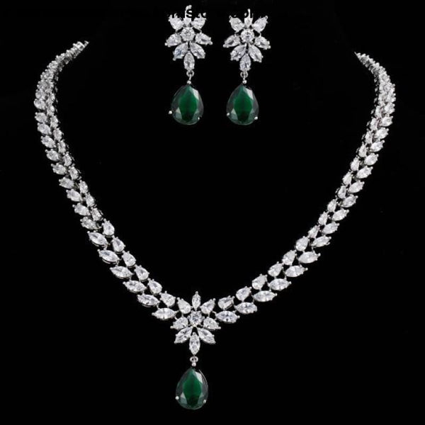 Womens Romantic Trendy Flower Design Water Drop CZ Party Silver-color Jewelry set - green / 45cm - Womens Romantic Trendy Wedding Jewelry