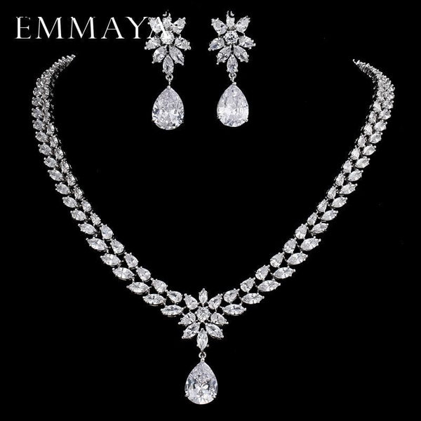 Womens Romantic Trendy Flower Design Water Drop CZ Party Silver-color Jewelry set - Womens Romantic Trendy Wedding Jewelry Set Flower Design