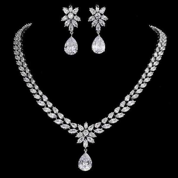 Womens Romantic Trendy Flower Design Water Drop CZ Party Silver-color Jewelry set - white / 45cm - Womens Romantic Trendy Wedding Jewelry