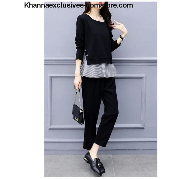 Womens Striped Splicing Long Sleeve Tops And Harem Pants Set Casual Office 2 Piece Suit Set - black / XL - Womens Striped Splicing Long