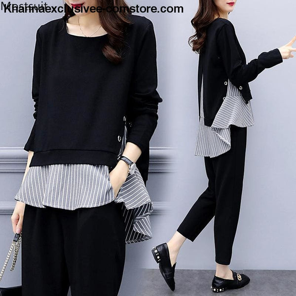 Womens Striped Splicing Long Sleeve Tops And Harem Pants Set Casual Office 2 Piece Suit Set - Womens Striped Splicing Long Sleeve Tops And