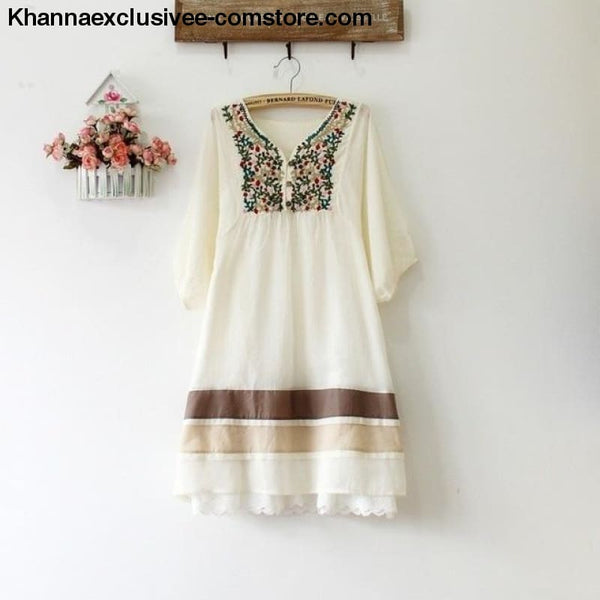Womens Summer Embroidered Ethnic style stitching loose half sleeve female Cotton Long Blouse Top - Beige / One Size - Womens Summer