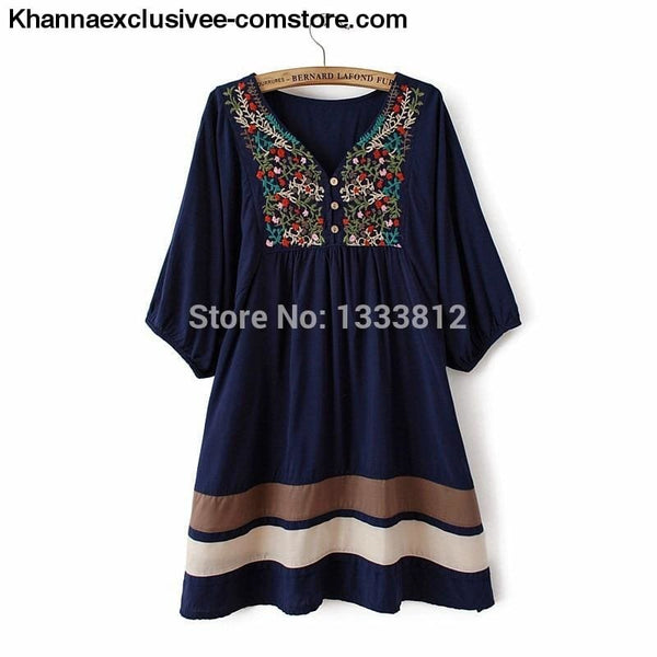 Womens Summer Embroidered Ethnic style stitching loose half sleeve female Cotton Long Blouse Top - Womens Summer Embroidered Ethnic style