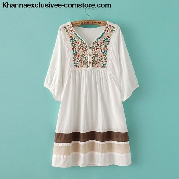 Womens Summer Embroidered Ethnic style stitching loose half sleeve female Cotton Long Blouse Top - White / One Size - Womens Summer