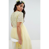 The Anjali: Delicate Sequin & Tulle Midi Dress