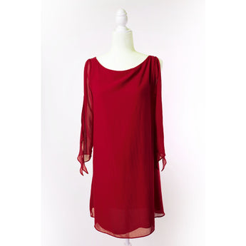 Slit Sleeve Red Dress
