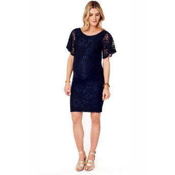 Navy Flutter Sleeve Lace Dress