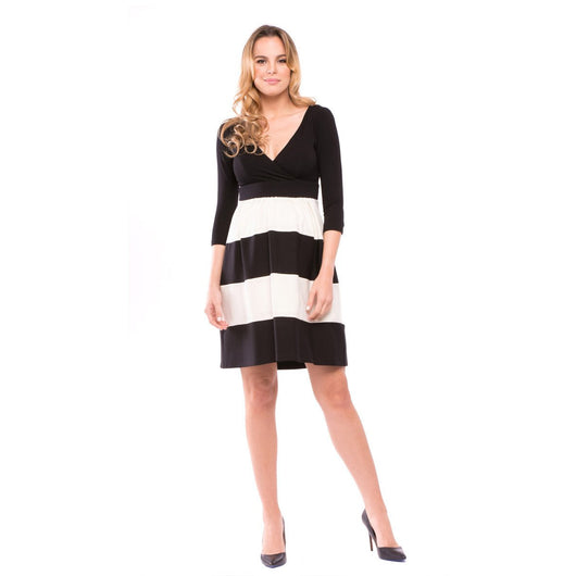 Black & Ivory Color Blocked Dress