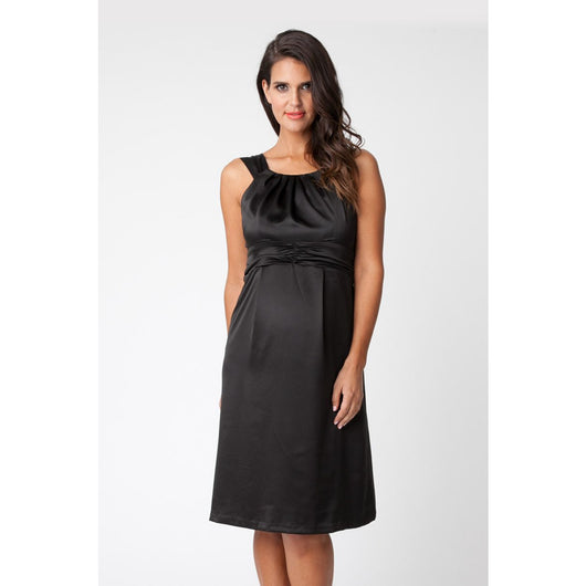 Sleeveless Satin Short Black Dress