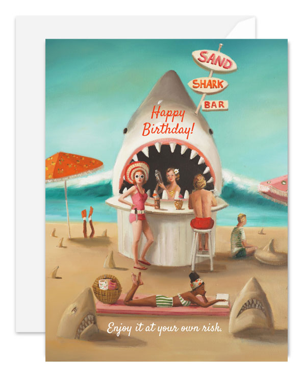 Sand Shark Bar Birthday Card