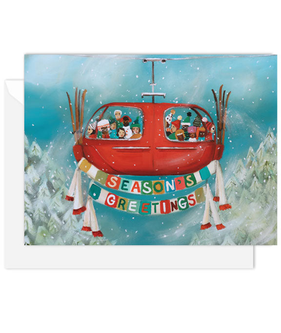 Season's Greetings Ski Lift Card