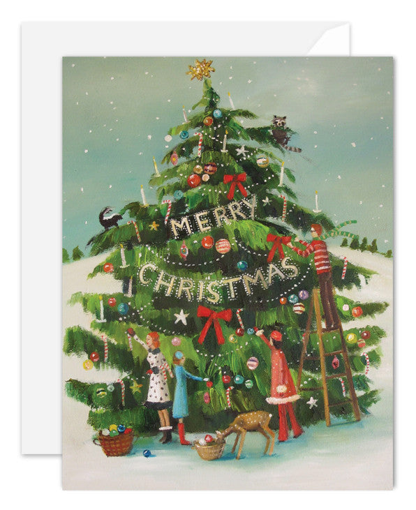 The Peppermint Family Trim the Chrismas Tree Card