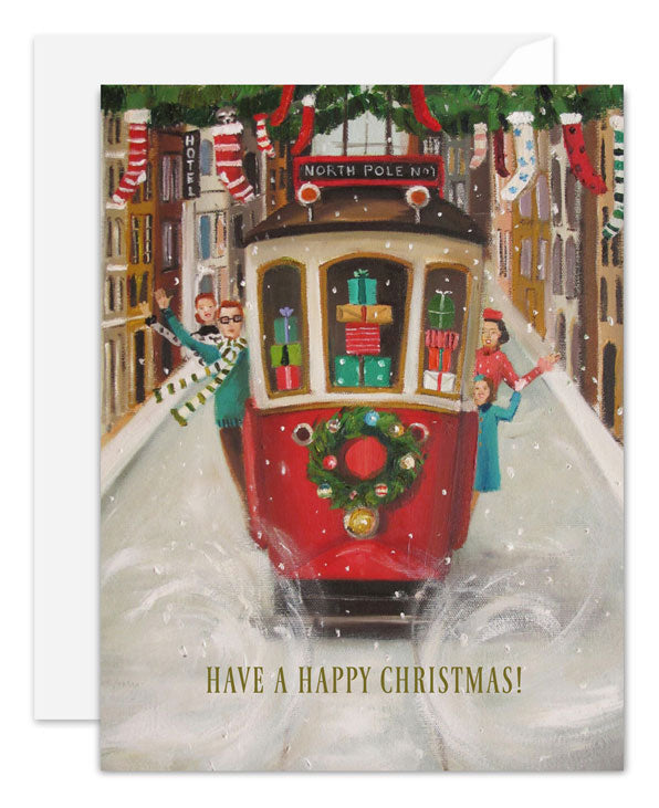The Peppermint Family Christmas Trolley Card