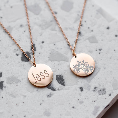 Birth Flower Necklace Engraved