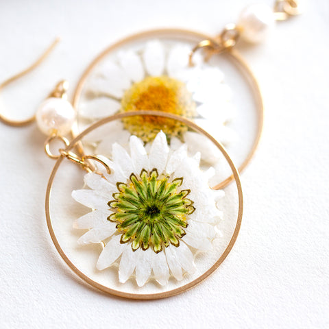 Studio Hop encapsulated daisy earrings