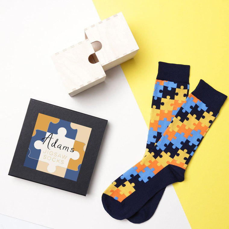 Personalised Men's Jigsaw Socks