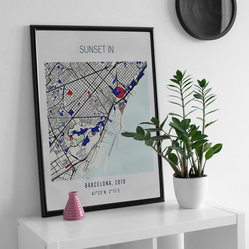 'Where We Met' Colour Pop Location Map Print