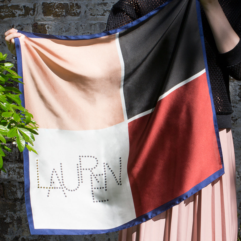 Personalised Name Colour Block Silky Scarf