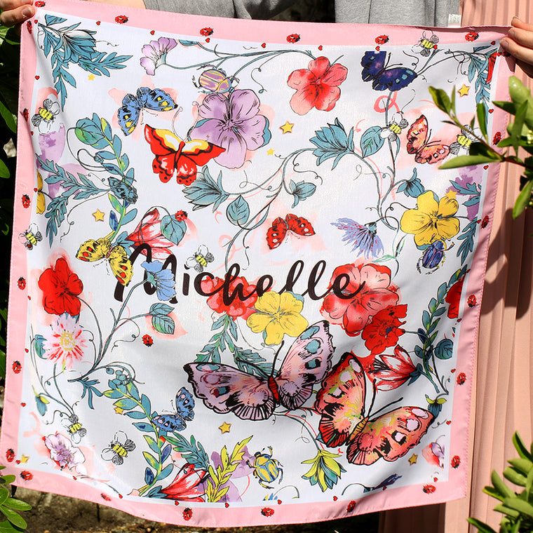 Personalised Name 'Michelle' Silky Scarf