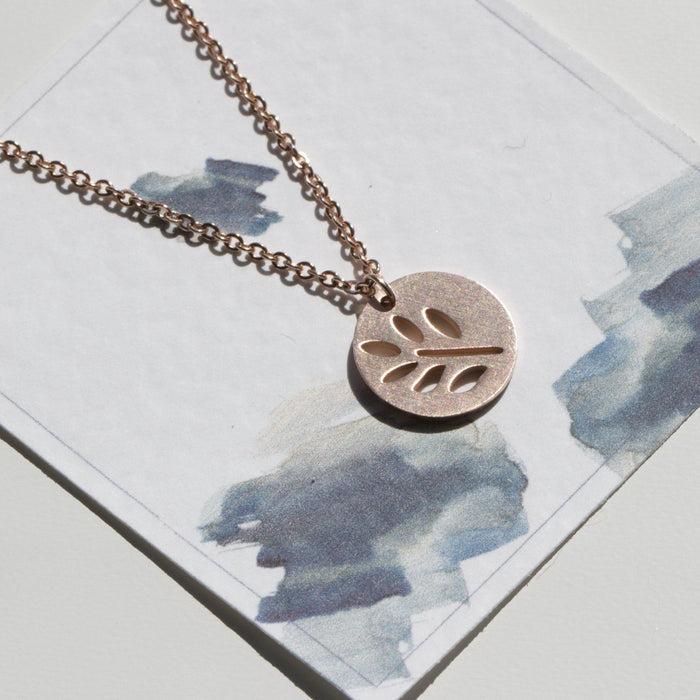 Rose Gold Leaf Stencil Necklace