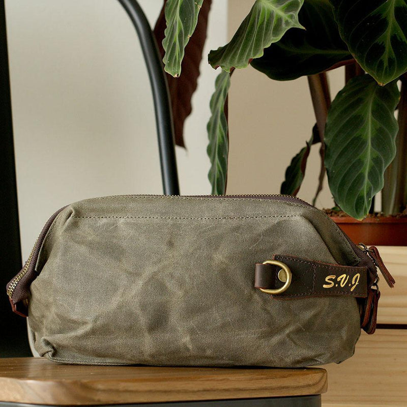 Men's waxed leather canvas wash bag