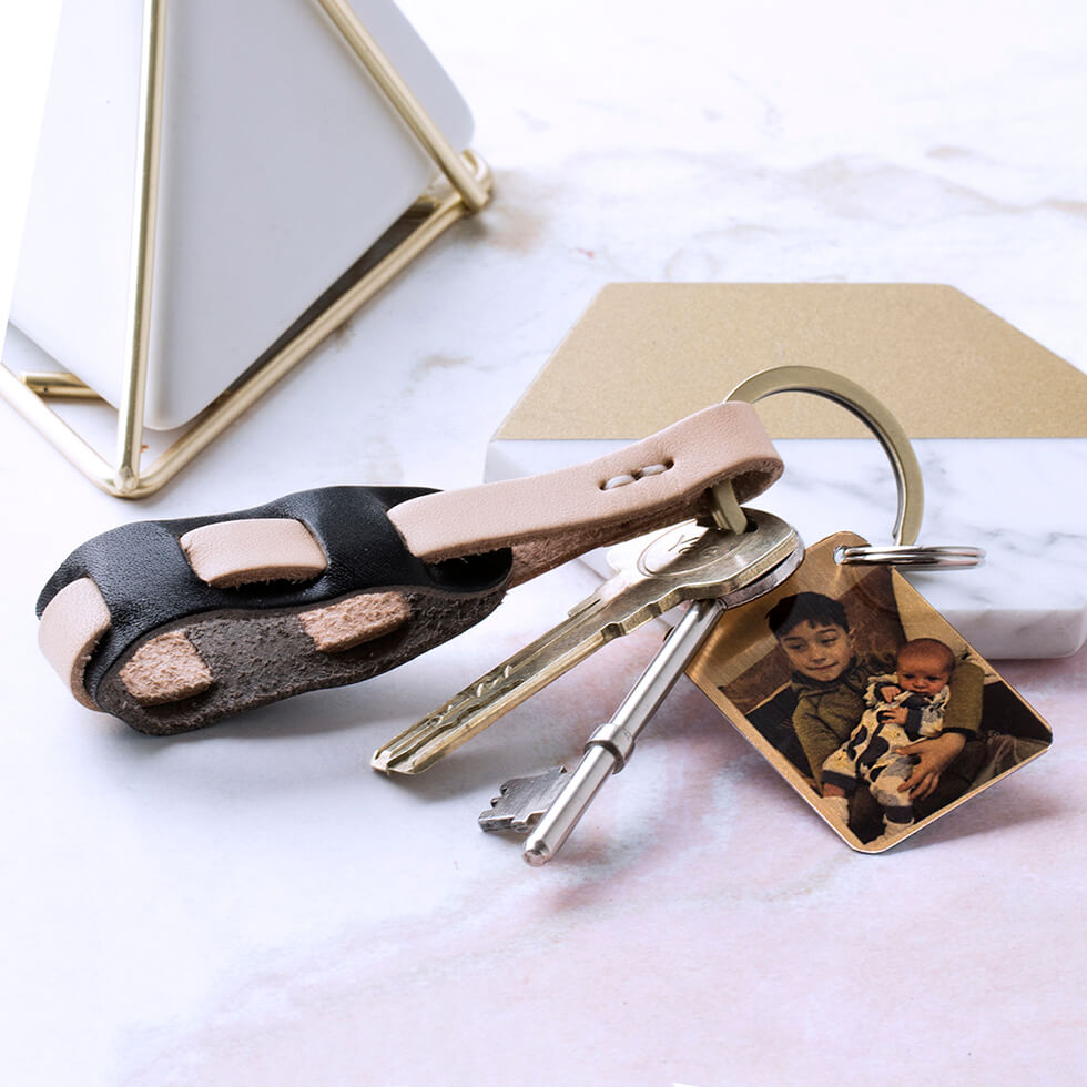 Ladies Two-Tone Leather Keyring