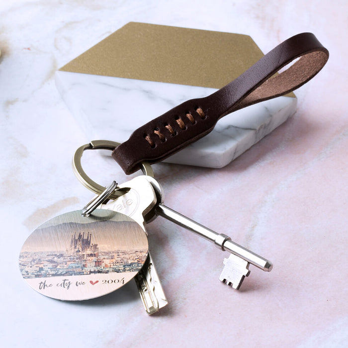 Ladies Stitched Leather Keyring