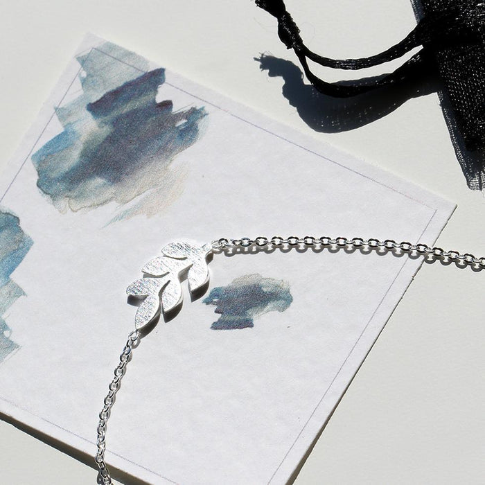 Silver Leaf Silhouette Necklace