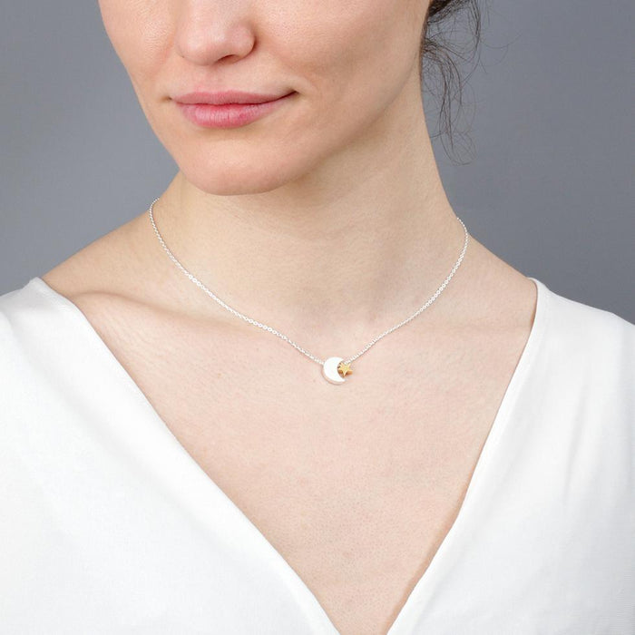 Moon and Star Rose Gold and Silver Necklace