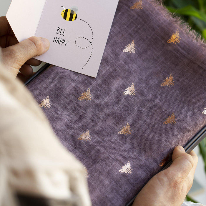 """Bee Happy"" Gold Foil Scarf Letterbox Gift"