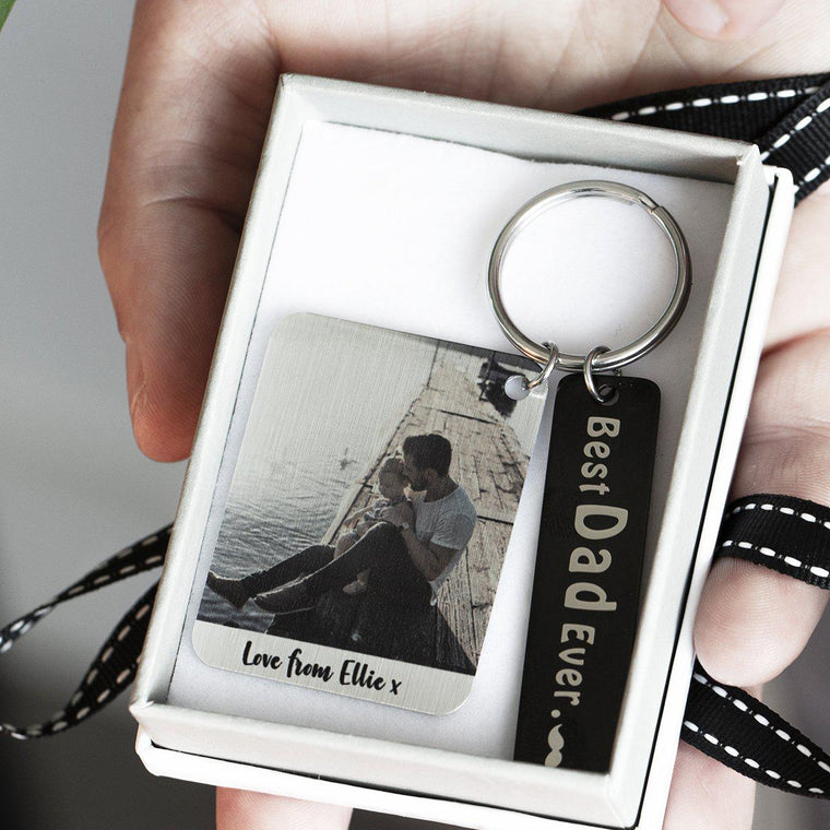 The Greatest Dad's Keyring with Photo Plate