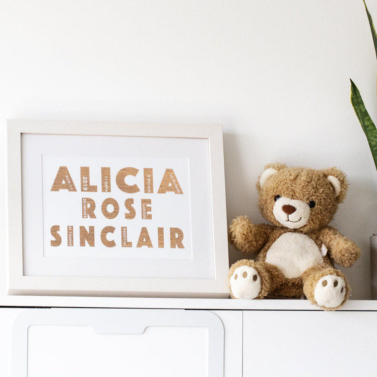Personalised Newborn Typography Print