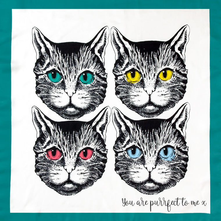 Personalised Feline Faces Silky Scarf