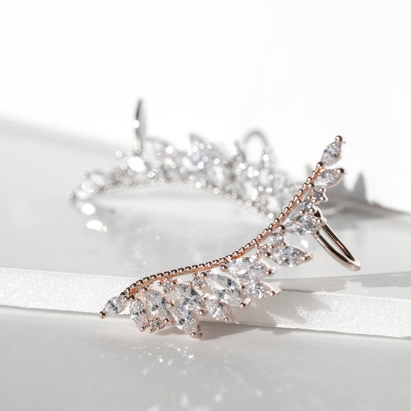 Feathered Crystal Ear Cuff