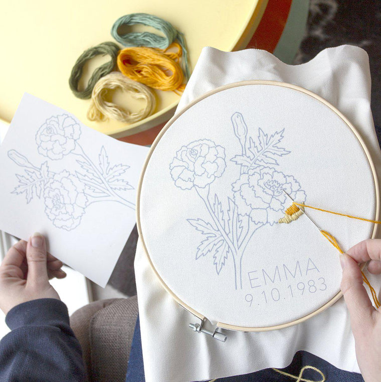 Personalised Birth Flower Embroidery Kit