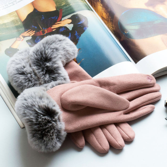 Fluffy Cuff Suede Effect Gloves