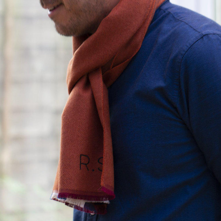 Men's Personalised Cashmere Blend Herringbone Scarf