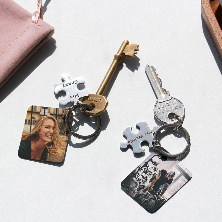 His & Hers Jigsaw Photo Keyring Letterbox Gift